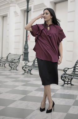 Solid Straight Burgundy Color Top by Afamado