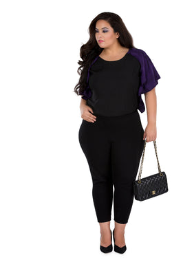 Black Color Contrast Relaxed Fit Top by Afamado