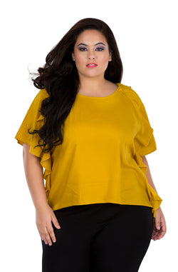 Mustard Ruffled Top by Afamado