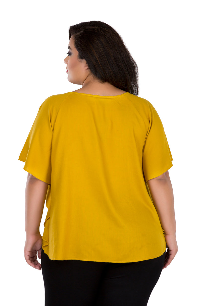 Mustard Ruffled Top