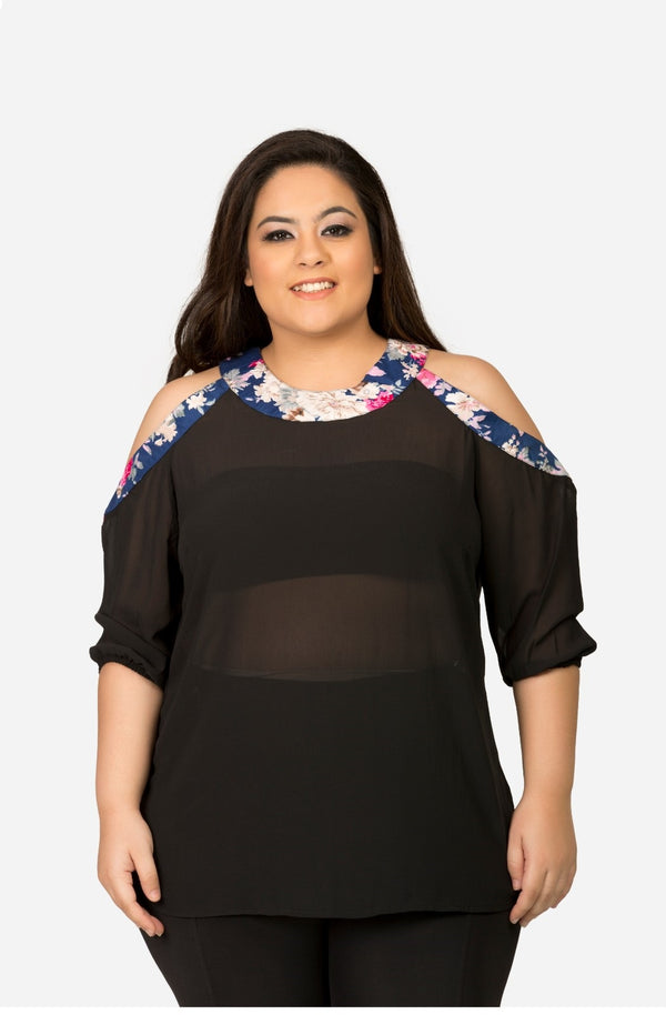 Black Georgette Cold Shoulder Top