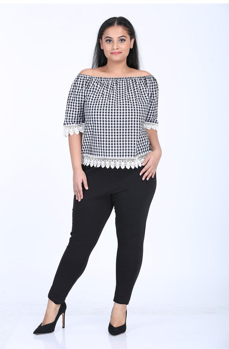 Gingham Lace Top