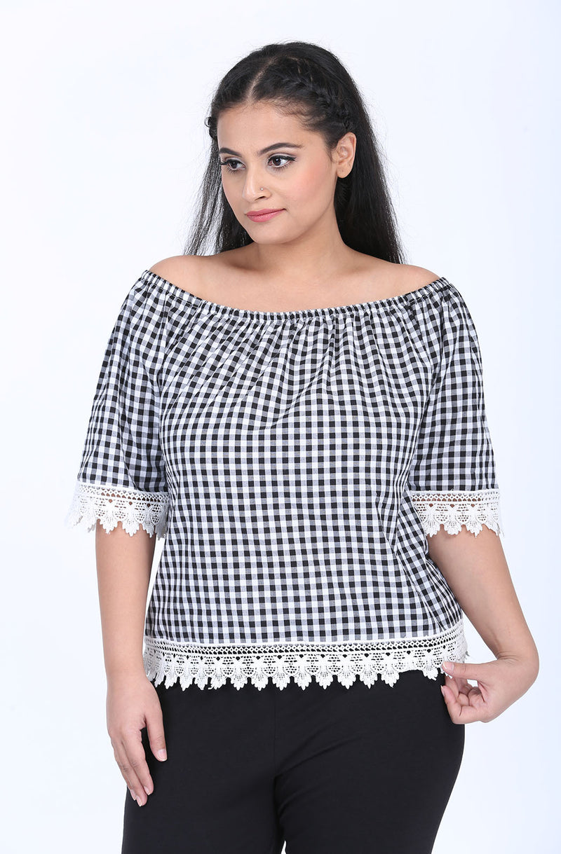 Gingham Lace Top by Afamado