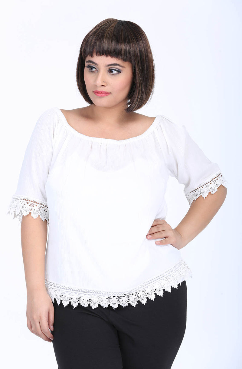 Off-Shoulder Lace Top by Afamado