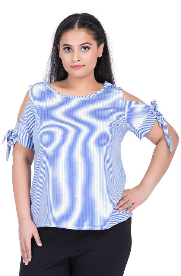 Blue Tie Sleeve Top by Afamado