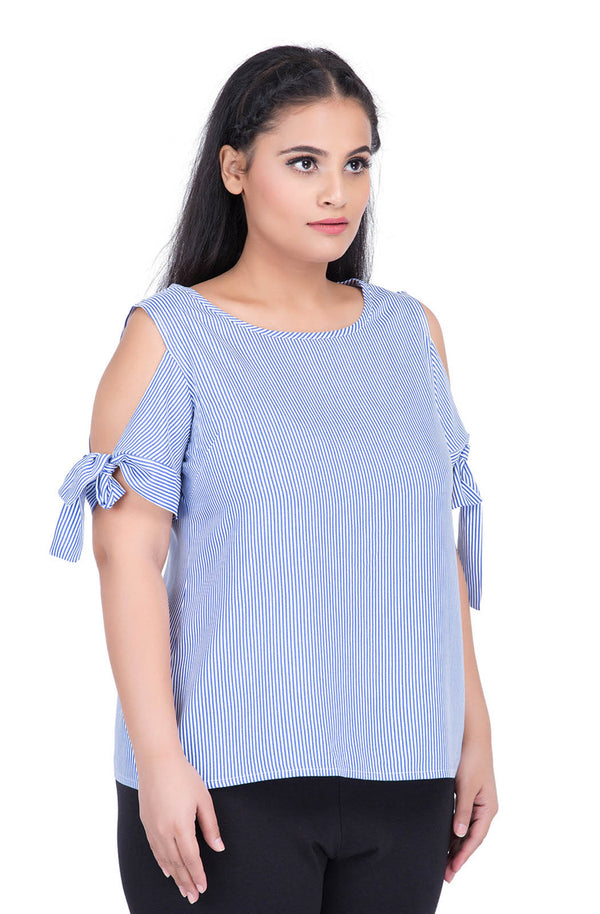 Blue Tie Sleeve Top