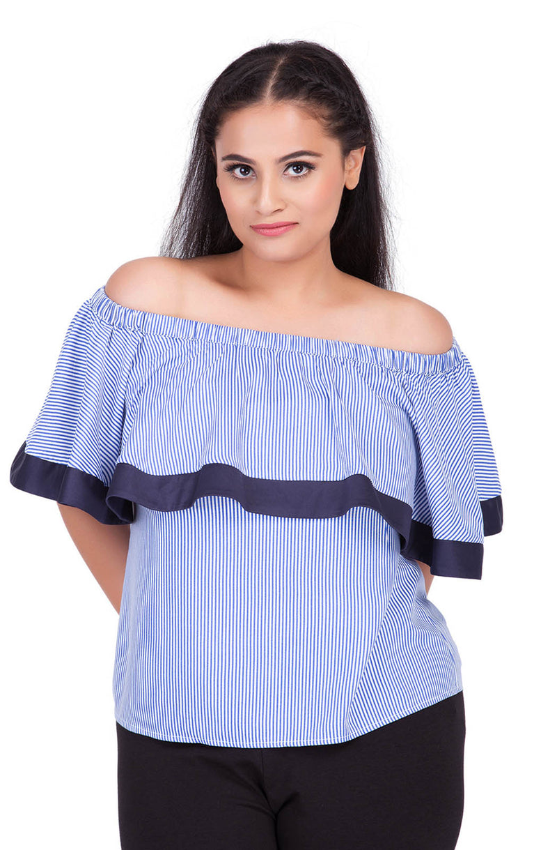 Pinstripe Ruffle Off-Shoulder Top by Afamado
