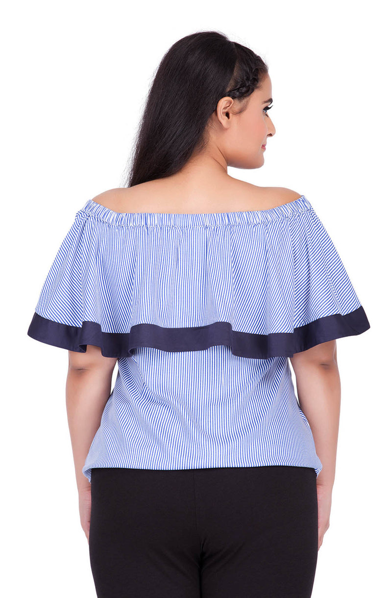 Pinstripe Ruffle Off-Shoulder Top