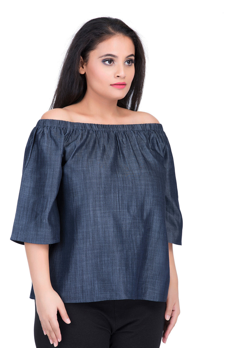 Denim Chambray Cotton Off-Shoulder Top