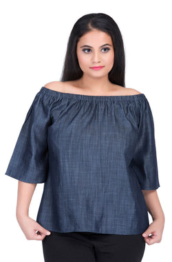 Denim Chambray Cotton Off-Shoulder Top by Afamado