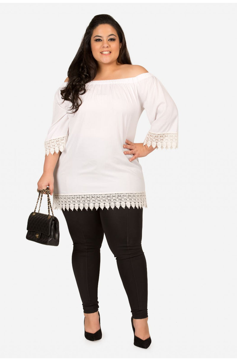 White Off-Shoulder Casual Top by Afamado