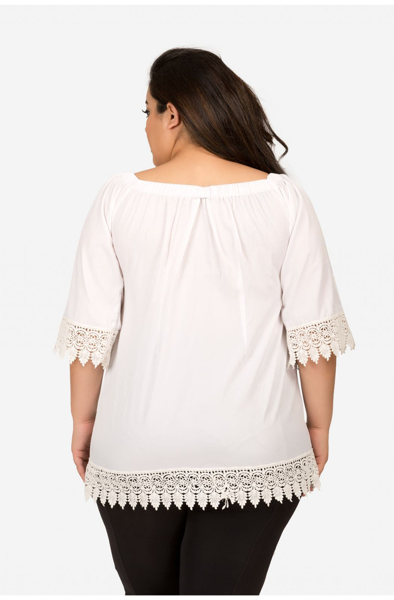 White Off-Shoulder Casual Top