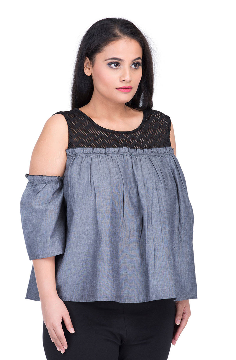 Cotton Denim Chambray Cold-Shoulder Top