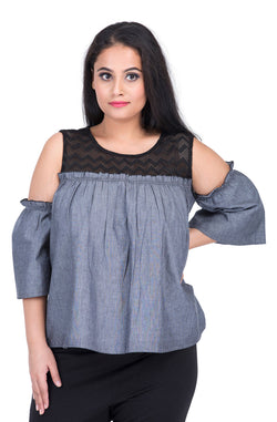 Cotton Denim Chambray Cold-Shoulder Top by Afamado