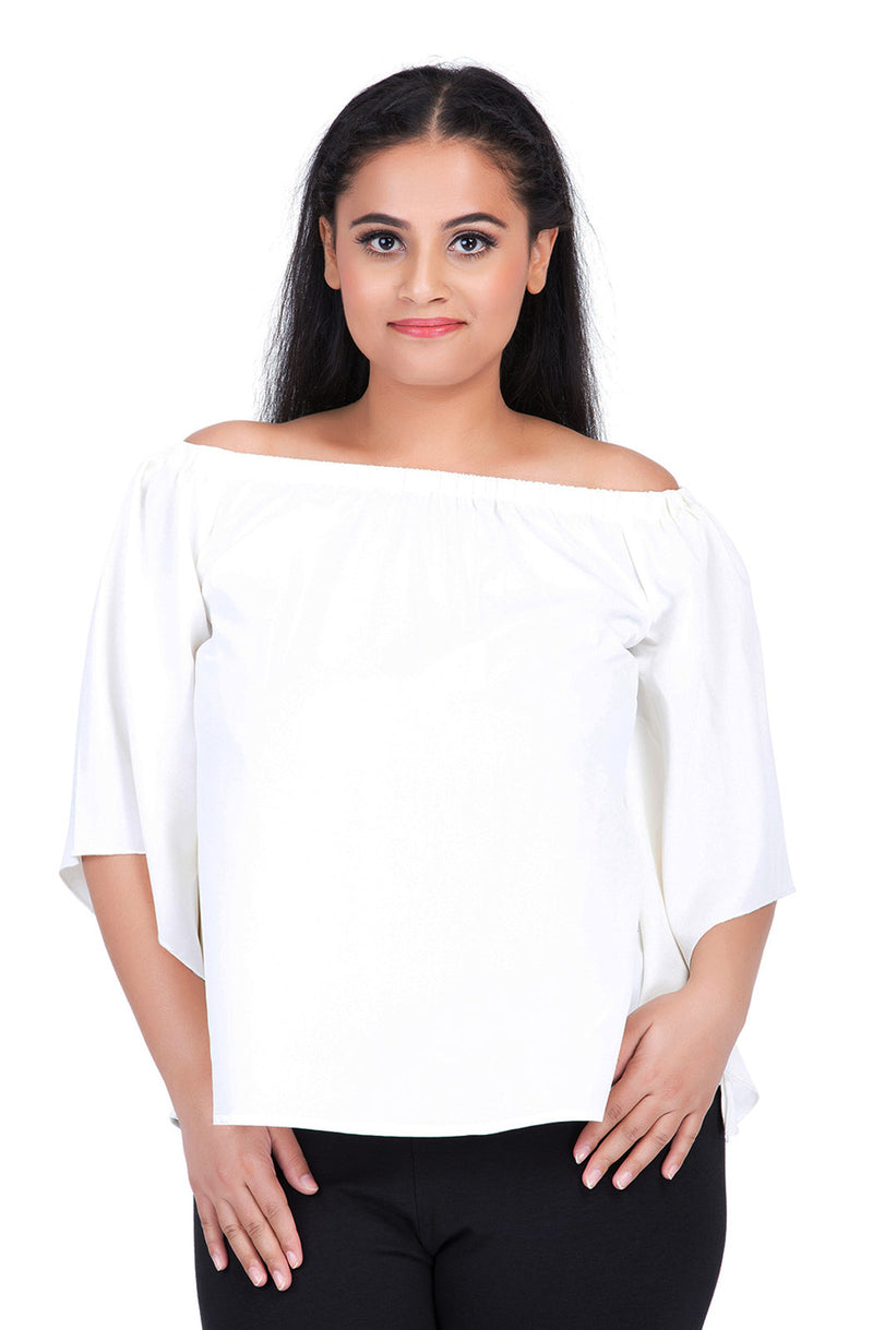 Flare Sleeve Rayon Top by Afamado