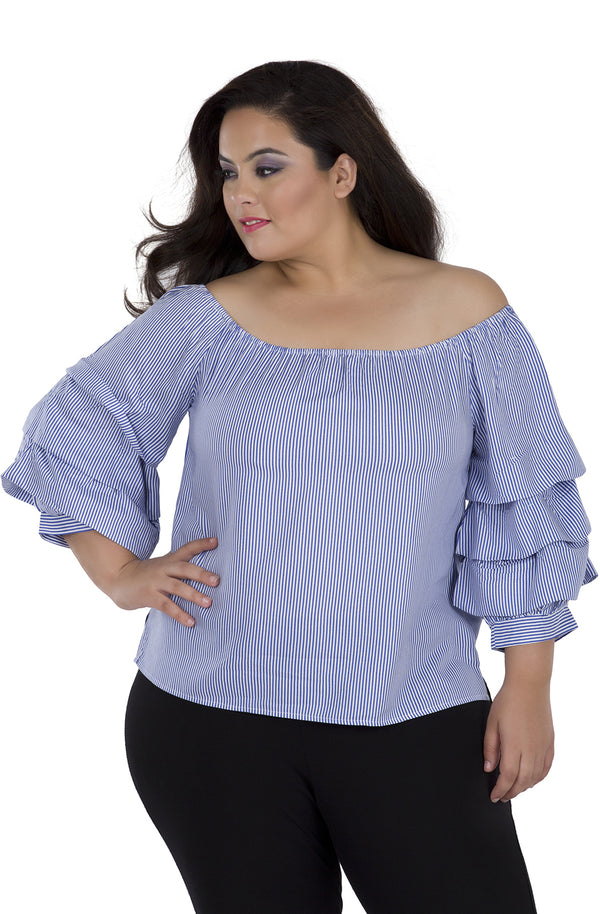 Pinstriped Ruffled Sleeve Top
