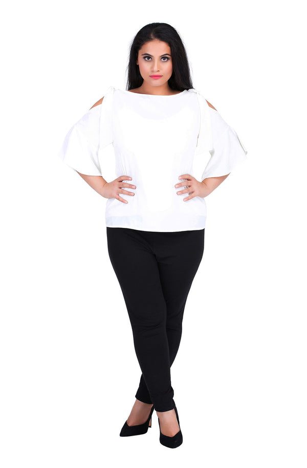 Tie Sleeve White Cold-Shoulder Tee