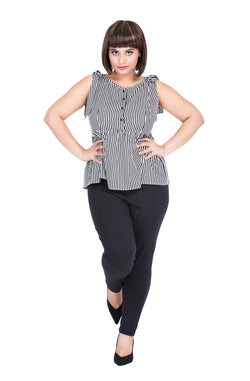 Black & White Peplum Top by Afamado