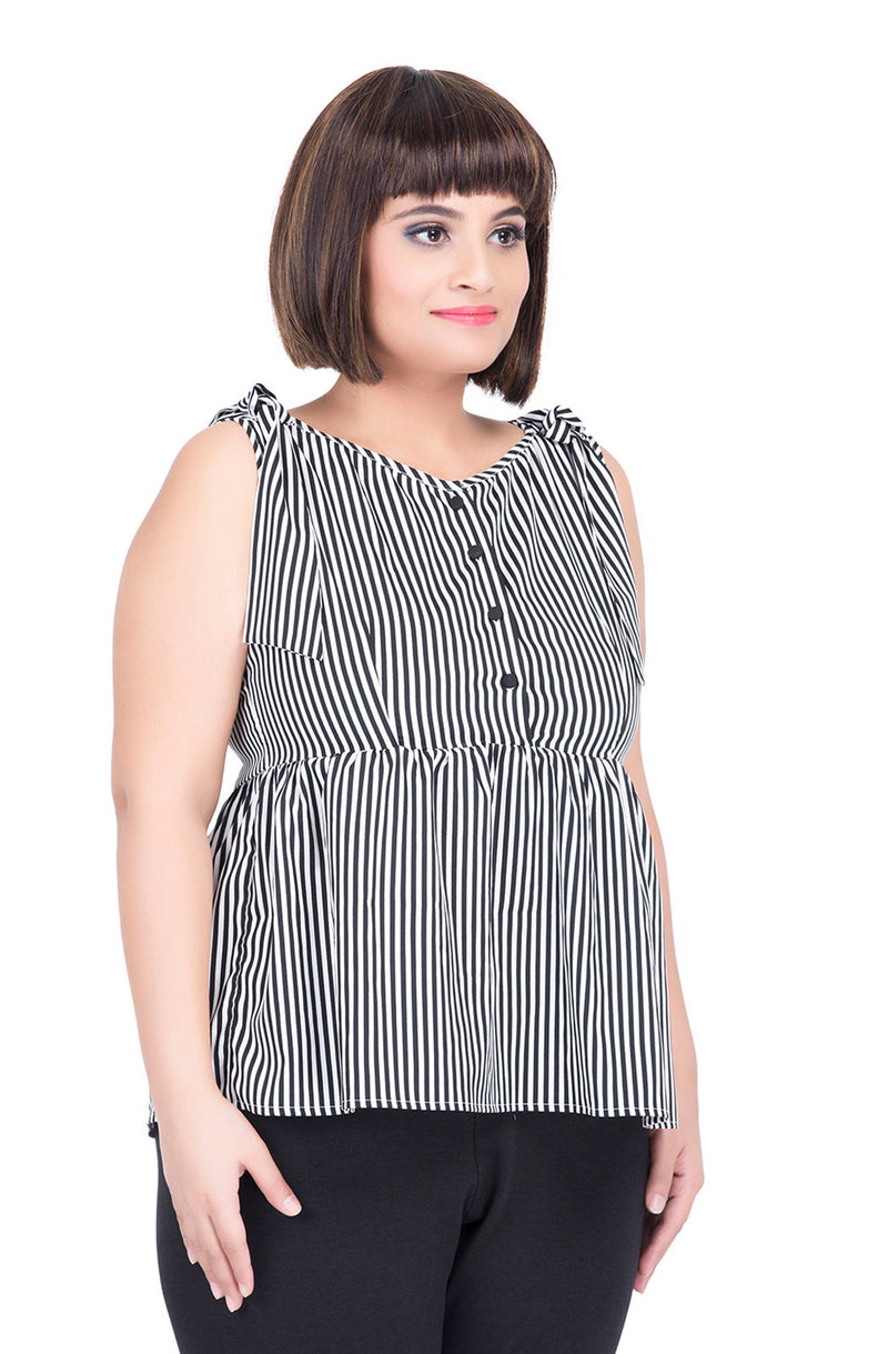 Black & White Peplum Top