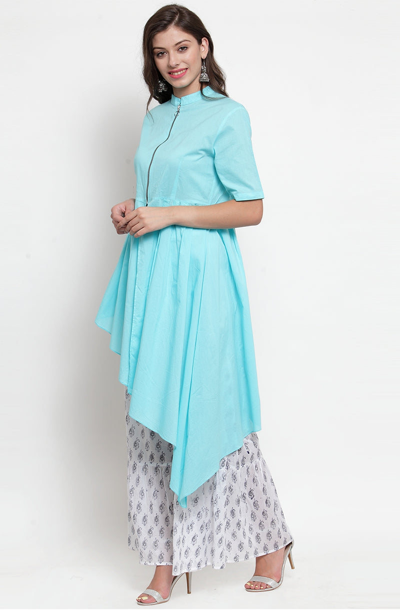 Blue Asymmetrical Cotton Kurti With Printed Flare Pallazos