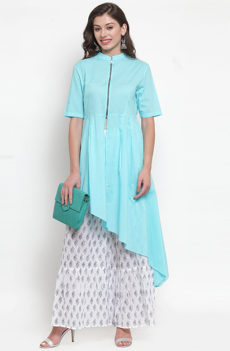 Blue Asymmetrical Cotton Kurti With Printed Flare Pallazos by Afamado