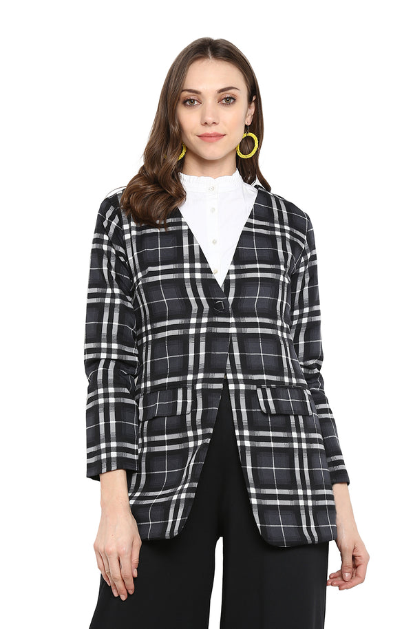 Formal Gingham Print Long Sleeve Blazer