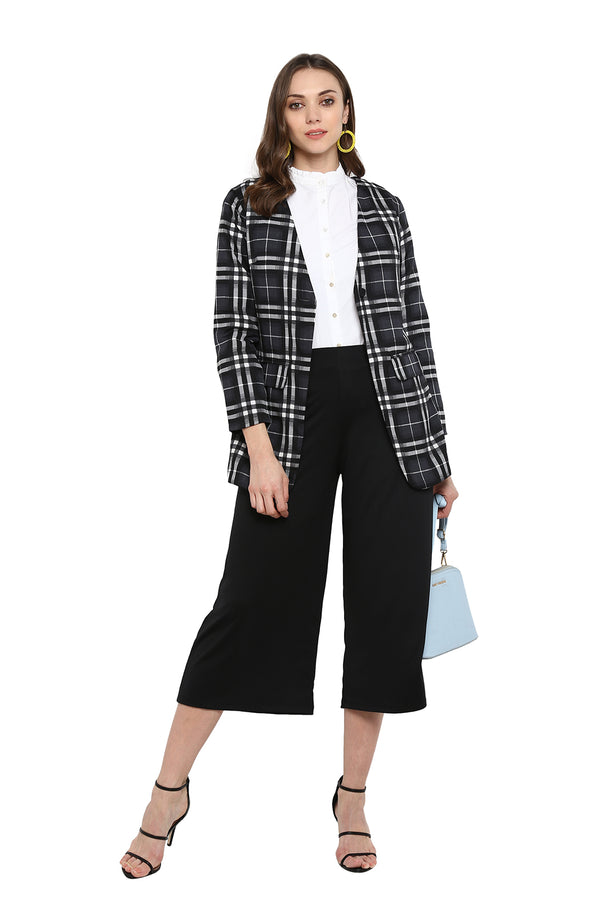 Formal Gingham Print Long Sleeve Blazer by Afamado