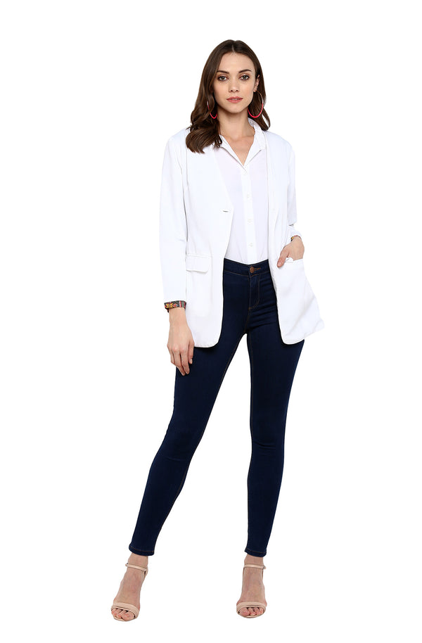 White Long-Sleeve Single-Button Blazer