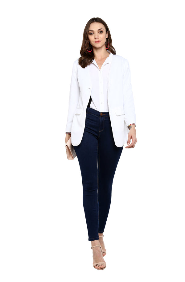 White Long-Sleeve Single-Button Blazer by Afamado