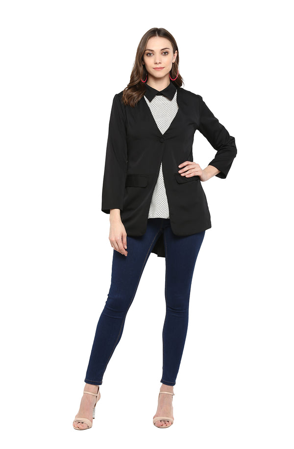 Black Single-Button Formal Blazer by Afamado