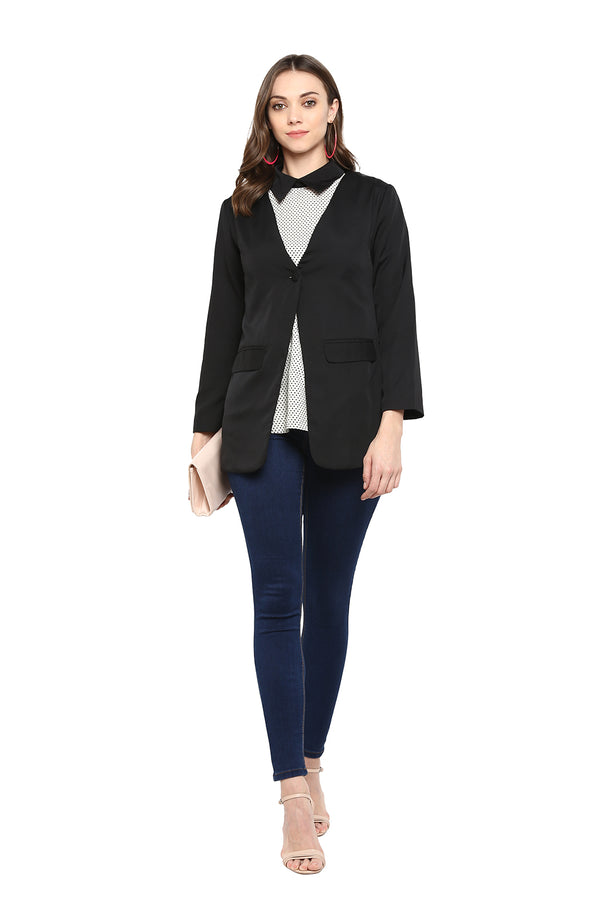 Black Single-Button Formal Blazer
