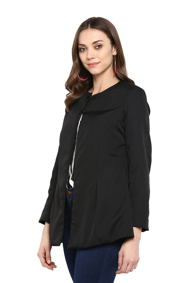 Black Solid Casual Open Front Jacket