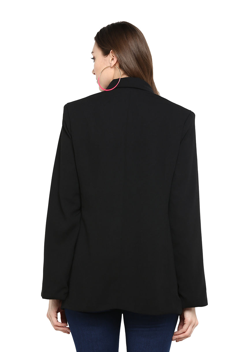 Double-Breasted Black Party Blazer