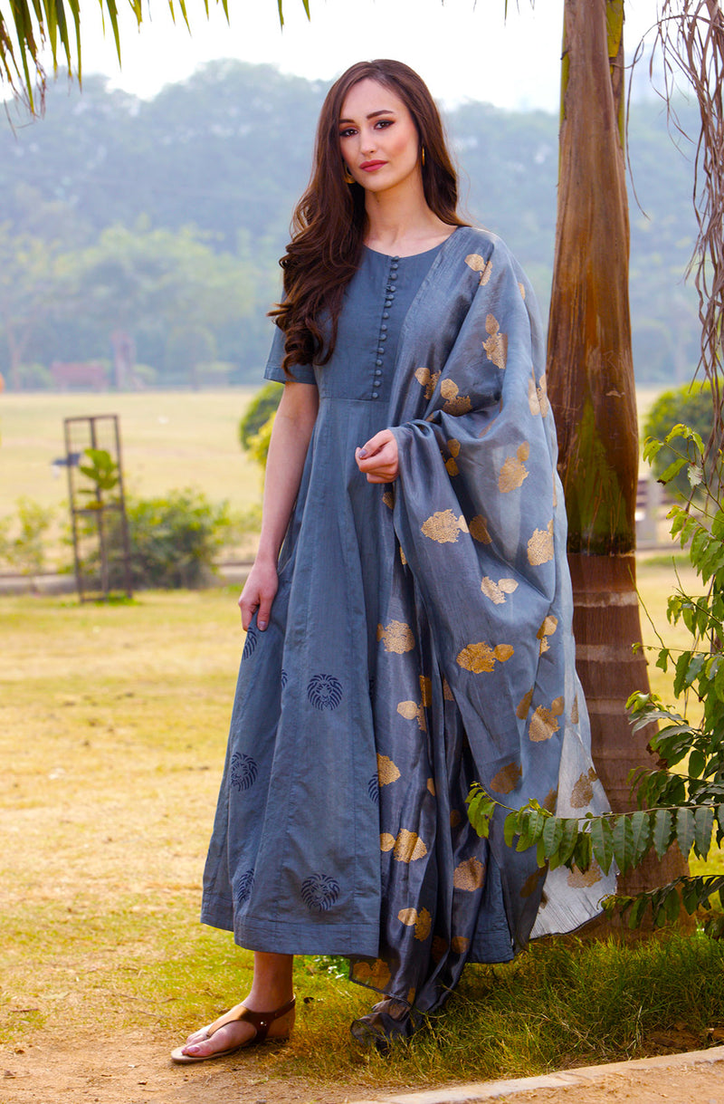 Gorgeous Cotton Grey Dress with Dupatta