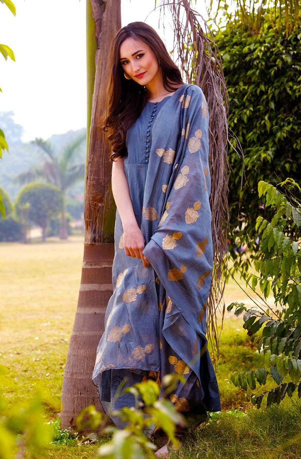 Gorgeous Cotton Grey Dress with Dupatta by Afamado