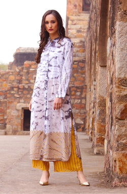 White Self Design Kurta Set by Afamado