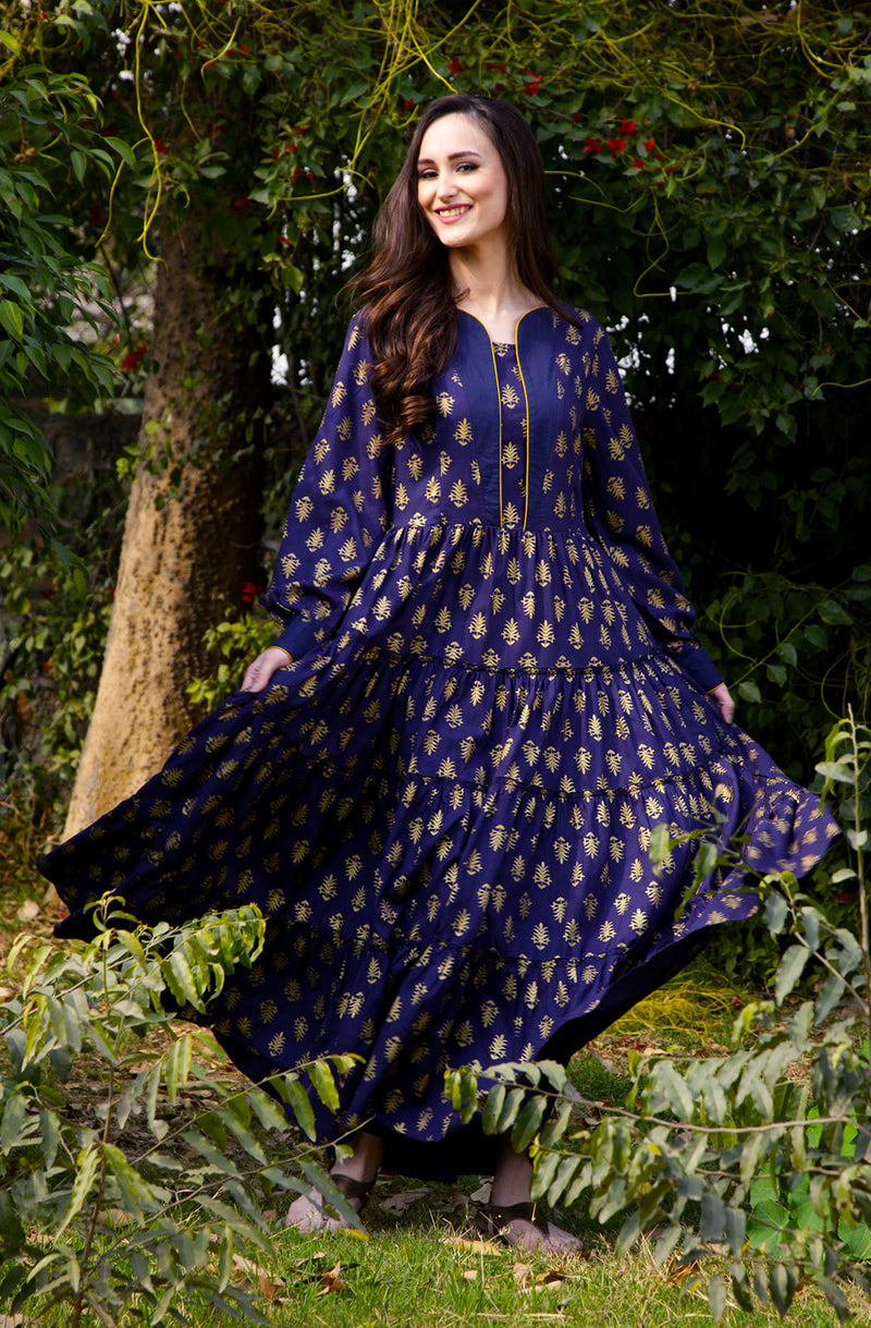 Blue Motif Printed Gown with Dupatta by Afamado