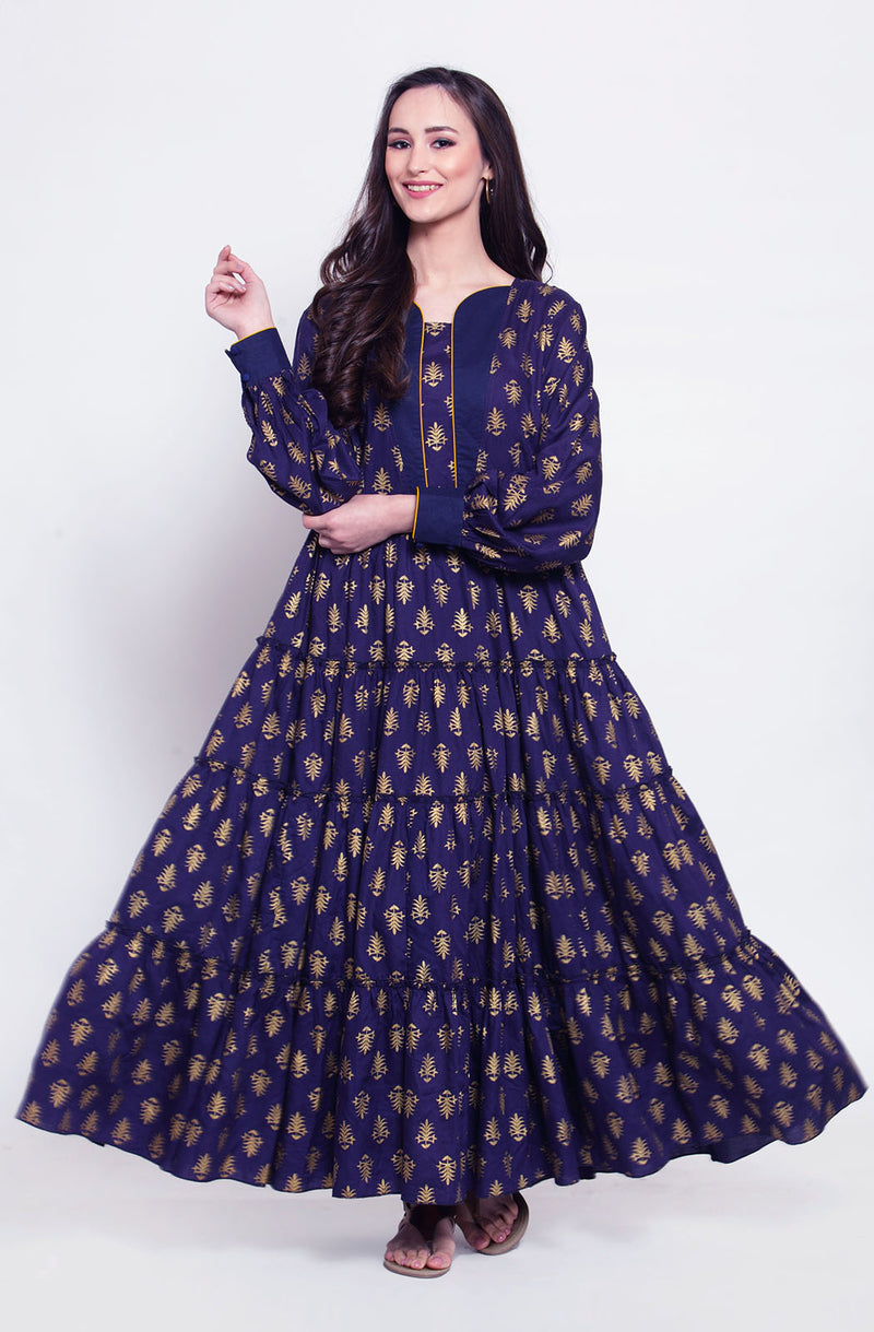 Blue Motif Printed Gown with Dupatta