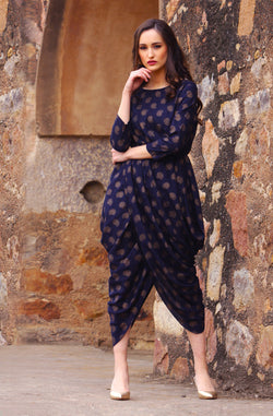 Blue Cotton Dhoti-Style Dress by Afamado