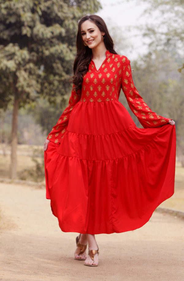 Red Motif Print Dress With Dupatta