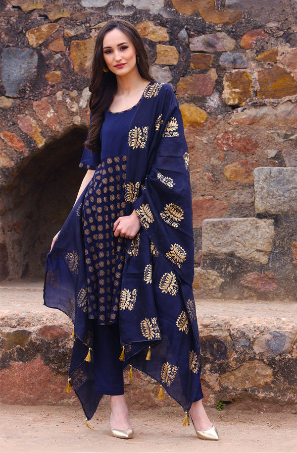 Lotus Print Kurta Set