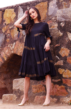 Black Cotton Dress with Contrast Motifs by Afamado