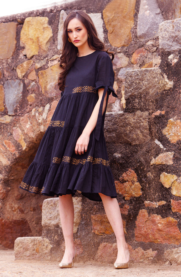 Black Cotton Dress with Contrast Motifs