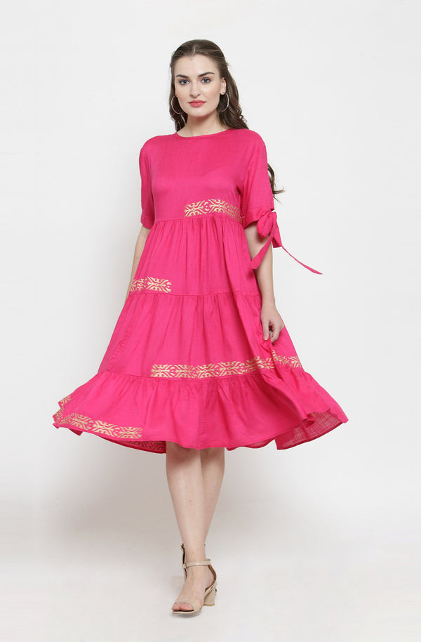Tiered Pink Dress with Contrast Motifs