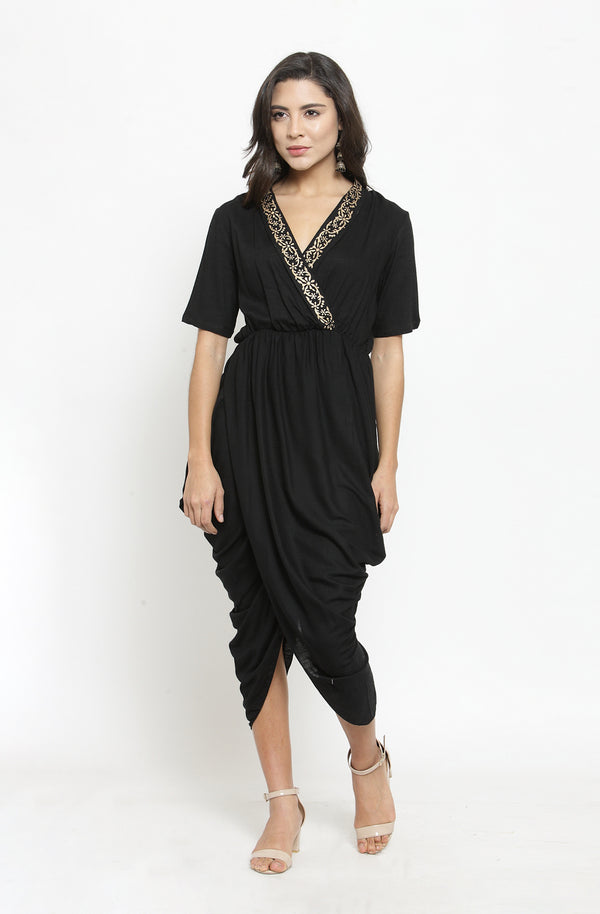 Black Dhoti-Drape Cotton Gown