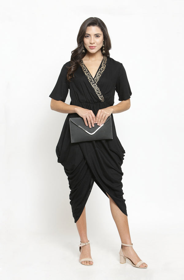 Black dhoti-drape gown