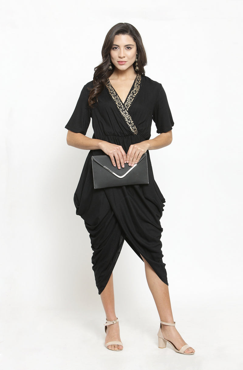 Black Dhoti-Drape Cotton Gown by Afamado