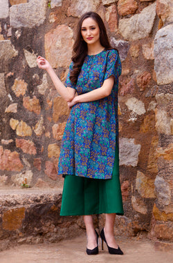 Green Printed Kurta Set by Afamado