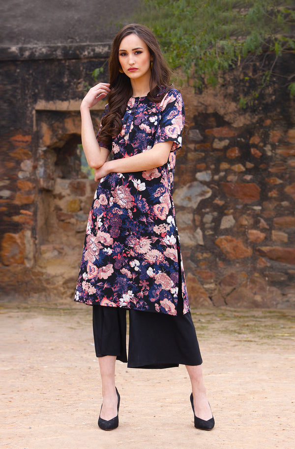 Multicolored Floral Print Kurta Set by Afamado