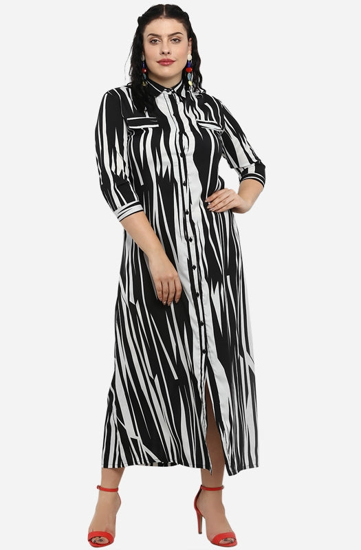 Abstract Print Maxi Shirt Dress